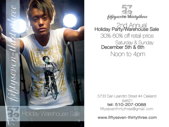 fiftyseven-thirtythree warehouse sale 12/5-6/09 flyer
